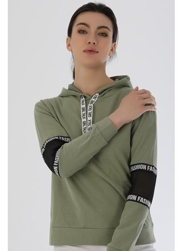 Emjey Kol Arası Fileli Sweat Yeşil